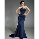 TS Couture Formal Evening / Military Ball Dress - Dark Navy Plus Sizes / Petite Trumpet/Mermaid Strapless Sweep/Brush Train Satin
