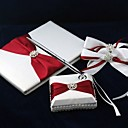 Pure Elegant Wedding Guest Book and Pen Set in Satin With Decorative Bows Sign In Book