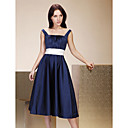 Lanting Tea-length Satin Bridesmaid Dress - Dark Navy Plus Sizes / Petite A-line / Princess Straps / Square