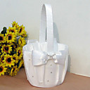Flower Basket In White Satin With Ribbon Bow And Rhinestone