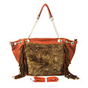 Faux Leather With Feather/Fur Shoulder Bag/Tote (More Colors)