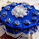 boîte bleue faveur gâteau avec de la dentelle (jeu de 10)