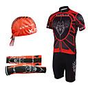 머리 스카프와 팔 따뜻하게 (빨간색과 검은 색)과 턱받이 정장을 자전거
