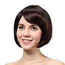 sin tapa corto marrón recta 100% pelucas del pelo humano