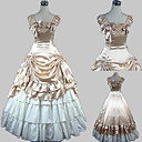 Ermeløs Floor lengde Beige Satin Cotton Princess Lolita Dress