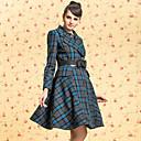 TS VINTAGE Check Pattern Lapel Swing Tweed Belt Coat
