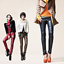 CIAO!DAFANFAN Vintage Metal Button Skinny PU Leather Pants