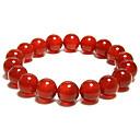 натуральный красный женский браслет агат (диаметр 10 мм)