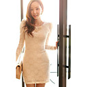 Kvinners Lace Puff Sleeve Bodycon Dress