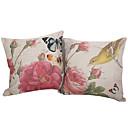 Conjunto de 2 Tampa País Pássaro Pillow algodão / linho decorativa