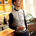 Men's Color Block Casual Long Sleeve Shirt