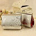 6 st / set förmån hållare - kreativa metall favör väskor silver fjäril print handväska