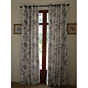 (Two Panels) Country Jacquard Floral Lined Curtain