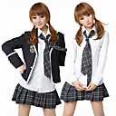 School Girl camicia bianca Inchiostro Blu check pattern Skirt Costume (5 Pezzi)