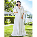Sheath/Column Plus Sizes Wedding Dress - Ivory Floor-length V-neck Chiffon