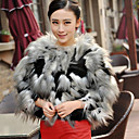 3/4 Sleeve Collarless Faux Fur Casual/Party Jacket