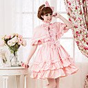 Short Sleeve Knee-length Pink Cotton Sweet Lolita Dress with Cape