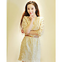Women's Solid/Lace Beige Dress , Work/Casual Crew Neck ½ Length Sleeve Embroidery
