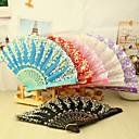 Asain Theme Plastic Hand Fan - sæt af 4 (blandede farver, Blandet Floral Pattern)