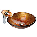 Contemporary Tempered Glass Bathroom Sink with Waterfall Faucet, Mounting Ring and Water Drain