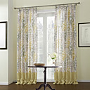 Country Two Panels Leaf Yellow Bedroom Linen/Polyester Blend Panel Curtains Drapes