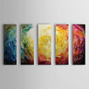 Oil Painting Abstract With Stretched Frame Set of 5 1308-AB0573 Hand-Painted Canvas