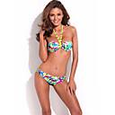 RELLECIGA moda Doodle Stampa 1/2 Coppa Bikini Set con neon cravatte gialle