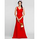 Floor-length Chiffon Bridesmaid Dress - Ruby Plus Sizes / Petite Sheath/Column V-neck / Straps
