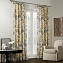 Country Two Panels Floral  Botanical Beige  Blue Bedroom Linen/Polyester Blend Blackout Curtains Drapes