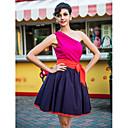 Vestito corto TS, stile swing, monospalla, colori a contrasto