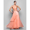 저녁 정장파티/프롬/밀리터리 볼 드레스 - 펄 핑크 A라인/프린세스 바닥 길이 스트랩 쉬폰
