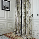 (Two Panels) Michelle Luxury® Rococo Ivory Jacquard Energy Saving Curtain