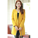 Women's Black/Blue/Brown/Orange/Pink/Yellow Trench Coat , Casual Long Sleeve Wool Blends