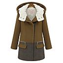 Women's Hooded Contrast Color Tweed Long Coat