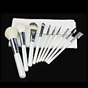 10pcs Bristle/Goat hair Makeup Brushes set Blush/Concealer/Powder/Foundation Brush Shadow/Eyeliner/Eyelash/Brow/Lip Brush with white Pouch