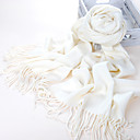 Acrylic Fiber Pure White Warm Winter Scarf with Tassels