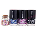 3PCS Candy Color Nail Polish with 1 Bottle 3D Fimo Slice Fruit Decoration Nail Art Set No.8