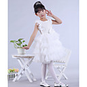 Dress - White Ball Gown Jewel Knee-length Lace / Organza / Satin