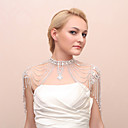 Luxurious Alloy Silver Plated With Rhinestone Bridal Shoulder Chain