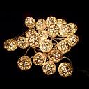 blancos de mimbre artesanal luces de cadena bolas de marfil para la fiesta de hadas& fiesta de la decoración del patio (20 piezas)