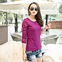 Women's Solid Black/Green/Pink/Purple/Red/Yellow T-shirt , Round Neck Long Sleeve