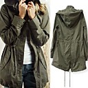 Women's Casual Drawstring Military Army Green Hoodie Trench Coat Jacket