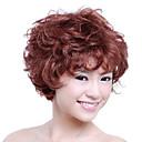 capless 짧은 고품질의 합성 적갈색 곱슬 머리 가발