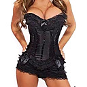 Satin Plastic Boning Corset Shapewear With T-strap And Skirt Sexy Lingerie Shaper