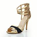 Chaussures Femme - Habillé / Soirée & Evénement - Or - Talon Aiguille - Talons / Bout Ouvert - Sandales - Cuir Verni
