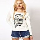 Women's Character White Blouse , Print Round Neck Long Sleeve