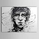 Peinture à l'huile peinte à la main Personnes Croquis de tête en noir et blanc de l'homme avec cadre tendu