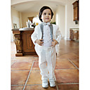 White Polester/Cotton Blend Ring Bearer Suit - 4 Pieces Includes  Jacket / Shirt / Pants / Bow Tie
