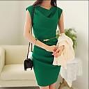 vrouwen kap chiffon effen kleur jurk met riem