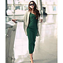 Women's Bodycon / Casual Solid Bodycon Dress , Deep V Midi Cotton Blends